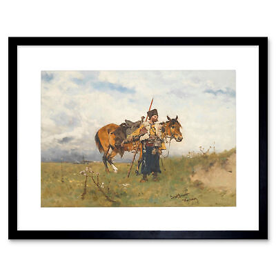 Painting Military Brandt Cossack Watchman Framed Art Print 12x16 Inch