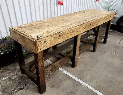 Large vintage rustic solid pine workbench 8 foot long potting shed industrial
