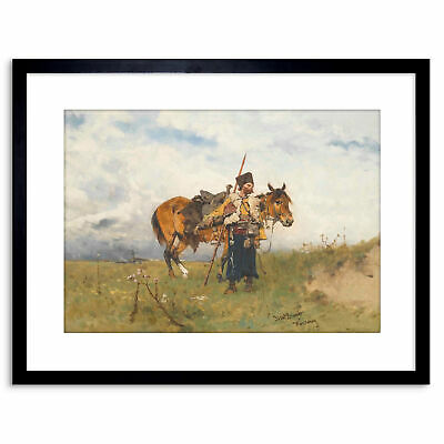 Painting Military Brandt Cossack Watchman Framed Art Print 9x7 Inch