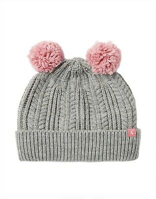 NEW! Joules Girls Ailsa Grey and Pink Double Bobble Knitted Hat