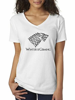 New Way 1216 - Women's V-Neck Winter Is Coming Stark Sigil Game Of Thrones