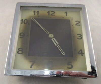 Vintage Retro Art Deco Style Chromium Wind Up Mantel Clock - Great Project