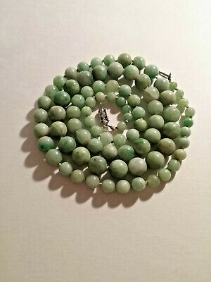 Vintage Green Jade Bead Necklace - Silver metal clasp works - JADE BEADS - VGC