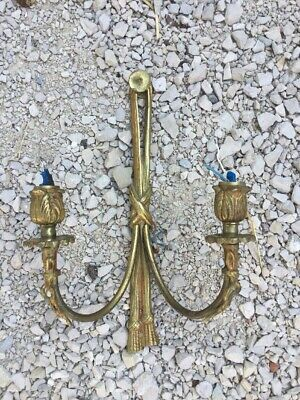 Vintage French Victorian Rope Wall Mounted Sconce Light Fixture Brass Metal Gold