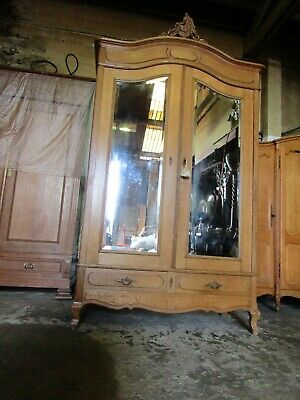 Antique French carved mirror door light oak armoire,wardrobe,Flat packs C1900