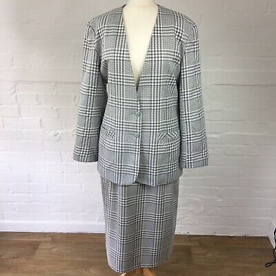 Vintage Long Tall Sally Size 16 Two piece Suit Jacket & Skirt Grey White Checked