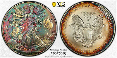 1999 Usa Silver Eagle Dollar Pcgs Ms67 Color Unc Rainbow Mosnter Toned (Dr)