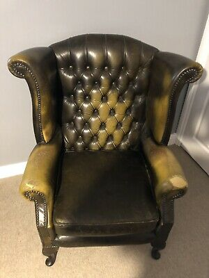Tremendous Chesterfield Queen Anne Antique Green Leather High Back Wing Camellatalisay Diy Chair Ideas Camellatalisaycom