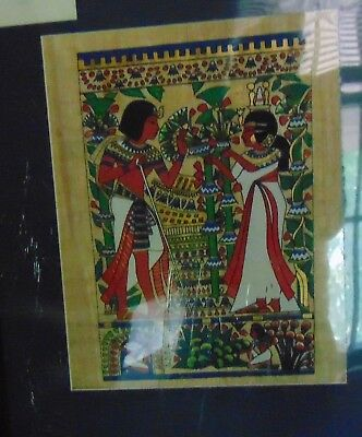 Painting on papyrus, King Tut and Queen.