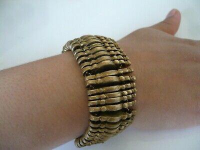 Antique Women Bracelet Yellow Copper Rare Old Hand Carving Brass Gift Decorate