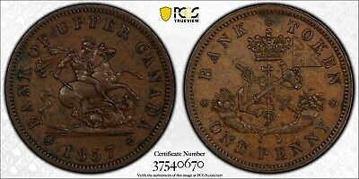 1857 Providence Of Canada 1 Penny (Pc-6D Br-719) Pcgs Au58 High Grade (Dr)