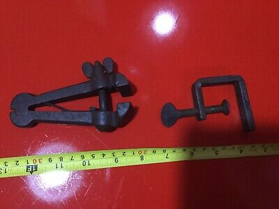 2 Vintage Woodworking Cramps / Clamps Working