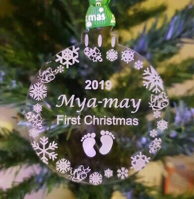 Personalised Babys 1st Christmas Tree Bauble, Baby, Decoration, First Xmas