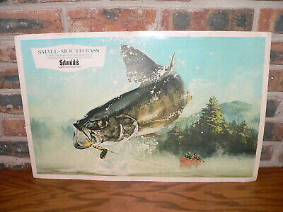 Vintage Schmidt's Beer Advertising Cardstock Print Small-Mouth Bass Bar Sign