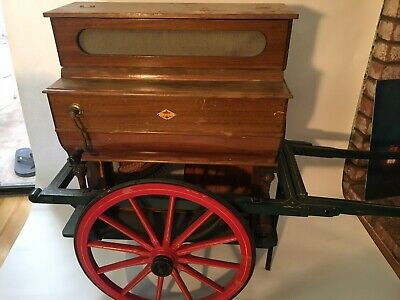 Antique VICENTE LINARES FAVENTIA 'HURDY GURDY' Piano On Cart, Made in Spain