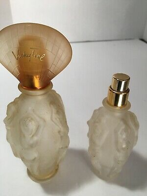 Perfume Bottles  Empty France Art Deco 2  Vicky Tiel Frosted Glass Classic Woman