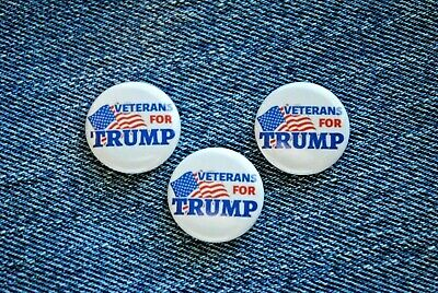 "Veterans for Donald TRUMP 2020 Pin Button 1"" MAGA USA Military Vest Hat Badge"