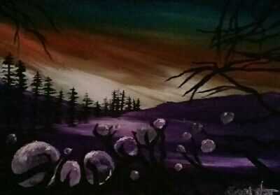 ACEO original art by Gemstars. Purple Dream path abstract micro oil painting!