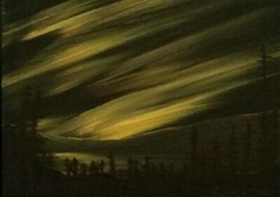 ACEO original art by Gemstars.Yellow Northern lights and dark hills oil painting