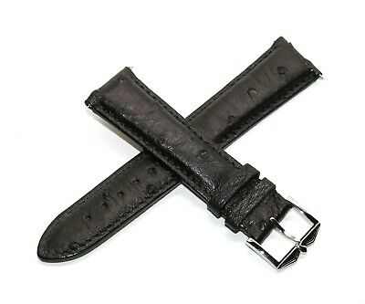 Rotary 21MM Genuine Ostrich Skin Leather Watch Strap Band BLACK Stainless Buckle