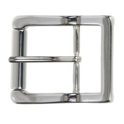 "1 1/2"" (38 mm) Nickel Free Center Bar Single Prong Roller Belt Buckle Silver"