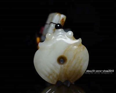 8.4cm collect China natural HeTian Jade Hand carved Animal Cicada Pendant AWSB