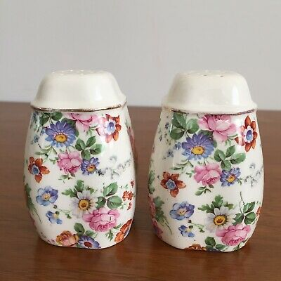 Vintage Erphila Dorset Cheery Chintz Pair Salt Pepper Shakers Floral 2 Two