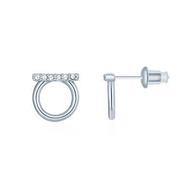 Pave Bar Open Circle Stud Earrings w Swarovski Crystals