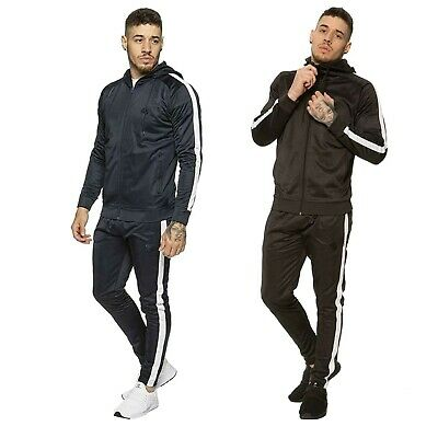 Enzo Mens Slim Fit Tracksuit Zip up Hoodie Joggers Full Set Jogging Bottoms