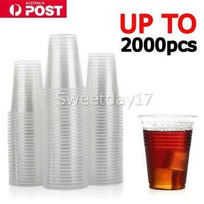 Disposable Plastic Cups Clear Reusable Drinking Water Cup Party 200ml Bulk Y