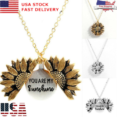Fashion Necklace You are my sunshine Open Locket Sunflower Pendant Necklace USA