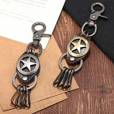 Key Chain For Man High-quality Antique Silver/Copper Pentagram Shape Leather
