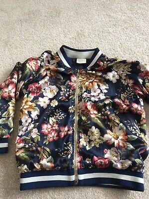 Girls Zara Floral Silk Bomber Jacket Aged 5 Used