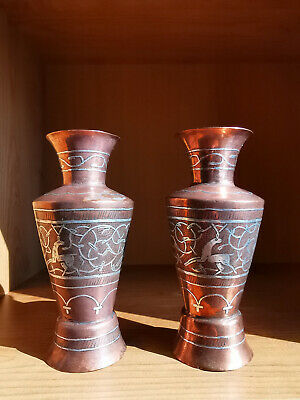Pair Antique Islamic Middle East Copper Vases Silver Inlaid Deer Decoration