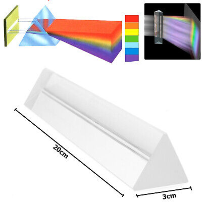 20cm Long Optical Glass Triple Triangular Prism Physics Light Spectrum Refractor