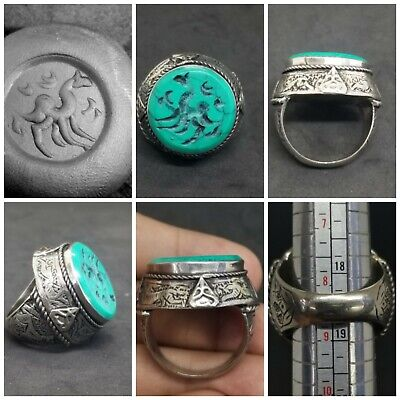 Old Silver Plated Ring With Beautiful Turquoise Intaligo Deer Stone # 3B