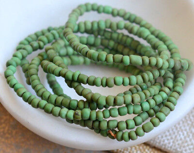 Antqiue monsoon Indo Pacific Apple Green Java Glass Beads NagaLand Long Strand