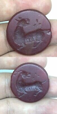 Amazing!  Ancient Carnelian Intaglio Both Side Hand Craved Animal Bead
