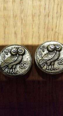 Lot of 2 Vintage Chanel round CC Logo bronze tone  owl Buttons 25 mm