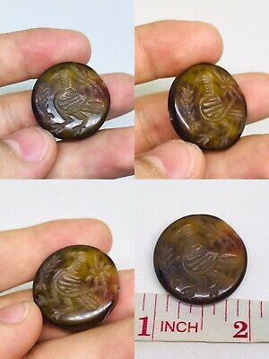 Wonderful!! Natural Afghan Carnelain Intaglio Bird Carved Stamp Bead