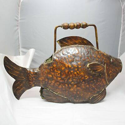 Vintage Metal Watering Can Shaped Like A Fish Unique Garden Decor