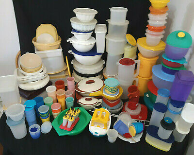 VINTAGE Tupperware Lot 235+ pcs Bowls Tumblers Servalier Harvest Sheer Pastel