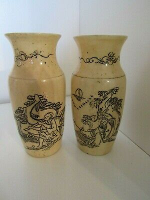 Two Vintage SIGNED Chinese Asian Hand Etched Painted Bovine Bone Miniature Vases
