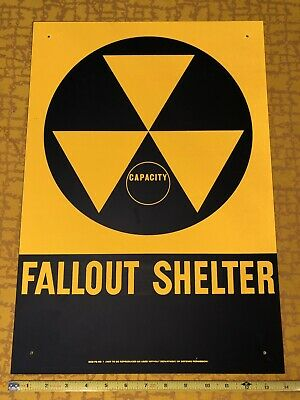 "Original Vintage US Fallout Shelter Sign 20"" X 14"" Reflective Paint Atomic Age"