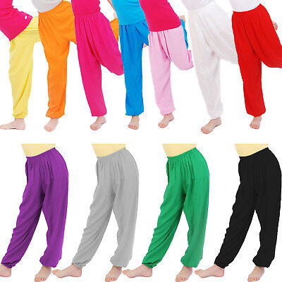 Kids Girls Boy Harem Trousers Costume Yoga Dance Pants Bloomers Child 3-12Years