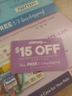 CHEWY $15 off first order $49  1coupon - chewy.com - exp. 10-31-19 - Sent Fast