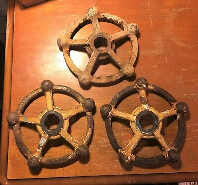 "Three 5"" 5-Spoke Vintage Steampunk Industrial Cast Iron Water Valve Handles"