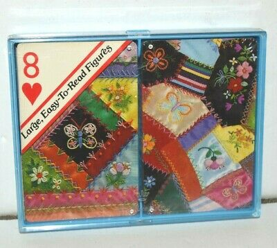 Hallmark VTG Double Deck Playing Cards Sealed Patchwork Quilt Bridge Easy Read
