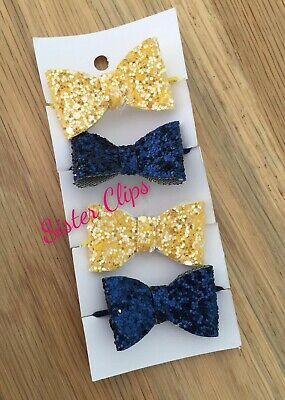 Girls Handmade 4 baby/toddler navy blue mustard yellow Glitter Hair Bow bobbles
