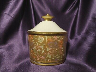 Vintage Porcelain Italian Vanity Trinket Box Multi Color Gold Floral Art w/ Lid